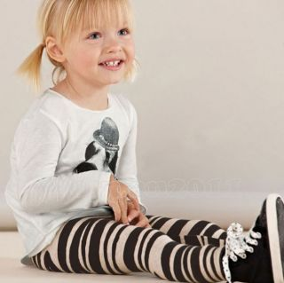 New Kids Toddlers Girls Zebra Veins White Black Color Age 2 8Y Leggings Pants