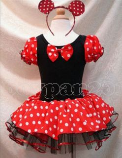 Kids Girls Minnie Mouse Birthday Party Costume Leotar Ballet Tutu Dress AGE1 9Y