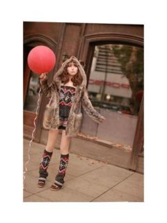 Extremely Cute Korea Style Women Faux Fur Bear Coat Jacket with Ears Tail Coffee