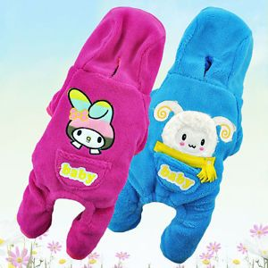 Baby Cartoon Pet Clothing Soft Fleece Hoodie Jumpsuit Pet Dog Clothes Apparel