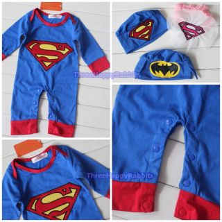 W048 Baby Boy Girl Superman Batman Costume Halloween Free Hat 6 18M