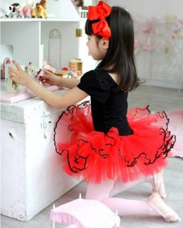 Red Black Girl Ballet Dance Party Dress Tutu Sz 3 4 6 8