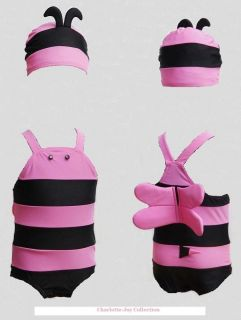 Baby Girl Pink Little Bee Swimming Costume with Hat 9 to 18 Months SW02 2