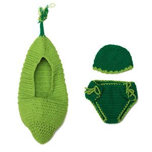 3pcs Baby Toddler Costume Knit Crochet Peas Bag Hats Pant Photography Cloth Set
