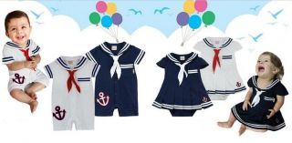 Baby Boy Girl Sailor Nautical Navy Dress Romper Bodysuit Costume Outfit Props