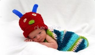 2pcs Set Newborn 12M Baby Girl Boy Crochet Knit Caterpillar Costume Outfit Photo