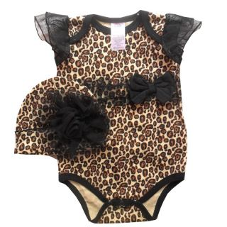 New Cotton Baby Bodysuit Hat 2 Pcs Baby Girls Costume One Piece Bodysuit B9