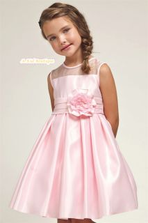Pageant Wedding Bridemaid Graduation Flower Girl Satin Pleated Pink Dress 2 12
