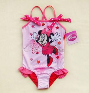 Girls Kids Minnie Mouse Swimsuit Swimming Swim Costume Swimwear Ages 1 6 Years