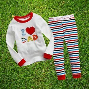 "2pcs VaenaitBaby Toddler Kid Girl Boy Clothes Sleepwear Pajama Set""Love Dad""6 7Y"