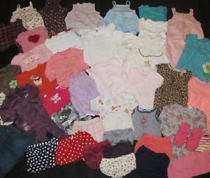 Cute Lot of 45 Items Baby Girls Clothes Size 6 9 6 12 Months Great Brands