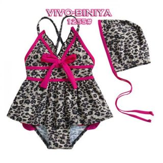 Girls Kids Leopard Swimsuit Sz 2 6Y Swimwear Tankini Swimming Costume Beachwear