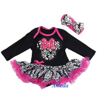 Baby Black Hot Pink Damask Minnie Mouse Bodysuit Romper Tutu Party Dress 6 12M