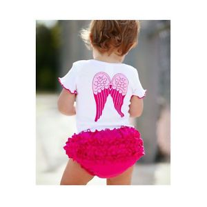 2pcs Girl Baby Infant T Shirt Top Pants Ruffle Angel Outfit Set Clothes 6 12M