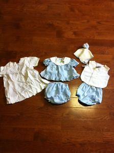Vintage 1950s Baby Clothing Dress Rubber Pants Hat Boys Girls Twins Newborn Doll