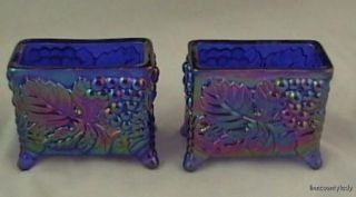 2 Boyd Cobalt Carnival Glass Grape Card Holders Fr SHP