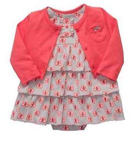 Carters Baby Girl Clothes Set Cardigan Dress Gray Red 3 6 9 12 18 24 Months