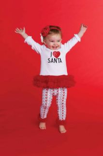 Mud Pie Christmas Baby Infant Girls I Love Santa Tunic Leggings 0 18M 2T 3T