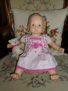 Bitty Baby Doll American Girl Blonde w Pink Sun Dress Bitty Bear