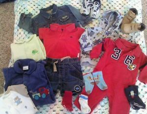 10 Lot of Infant Newborn Baby Boy Clothing 6 Months Shoes Outfits Used