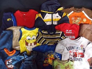 Huge Lot of Toddler Baby Boy Clothing 12 18 Month Jeans Shirts Pants Onesies