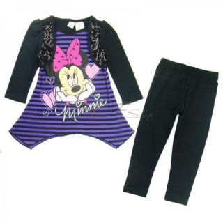 Girl Kid Minnie Mouse Long Sleeve Top Shirt Dress Leggings Outfit Costume Sz 2 5