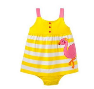 Carters Baby Girl Summer Clothes Dress Yellow Flamingo 3 6 9 12 18 24 Months