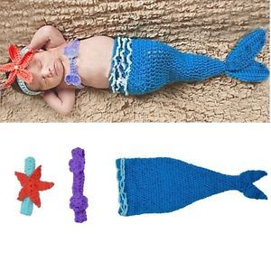 Baby Girls Boy Newborn Knit Crochet Blue Mermaid Clothes Photo Prop Outfits Hot