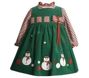 Boutique Bonnie Jean Girls Christmas Dress Size 12 Months Snowman Clothing