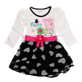 Baby Girl Kids Peppa Pig Costume Long Sleeve Heart Print Skirt Top Dress Sz 5T
