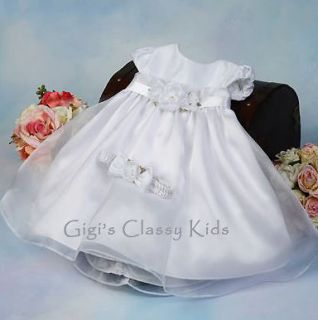 New Baby Girls White Dress Size s M L XL Christening Baptism Dedication Flower