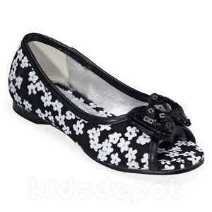 Girls White Black Flower Print Slip on Kids Dress Shoes Pageant Wedding Party