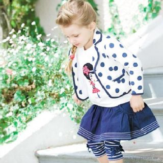 Kids Baby Girls Polka Dots 3 Pcs Set Coat T Shirt Culottes Outfits Costume 1 6Y