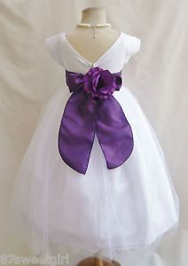 New VB White Purple Lapis Pageant Princess Davids Prom Toddler Flower Girl Dress
