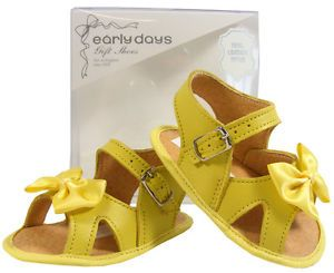 Baby Toddler Girls Early Days Yellow Leather Christening Bow Sandals Size 0 2 3