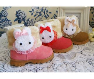 Baby Girls Infant Toddler Winter Fur Shoes Snow Boots Rabbit 9 30months
