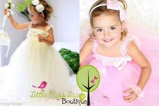 Baby Girl Lace Tutu Dress Flowergirl Wedding Sz 0000 4yr Little Miss Lacey ©
