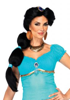 Womens Disney Princess Jasmine Black Costume Wig