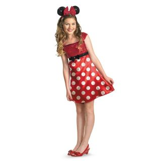 Girls Minnie Mouse Costume Fancy Dress Red Disney Teen Tween Child Ears Headband