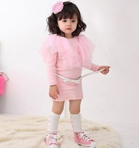 New Girls Princess Toddlers Kids Pink Tulle Long Sleeve Dress Baby Clothing 2 6Y