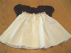 Baby Girls 18 Month Christmas Dress White Burgundy Velvet Lace Beads Pink Trim