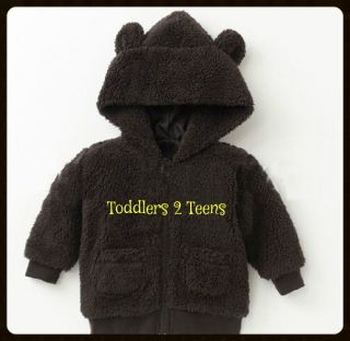 Baby Girl Boy Zip Up Jacket Coat Hood Teddy Bear Animal Red Brown Warm Fleece