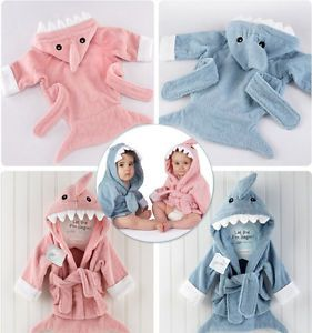 Baby Girl Boys Child Cartoon Animal Owl Hippo Hooded Bath Towel Bathrobes 0 36M