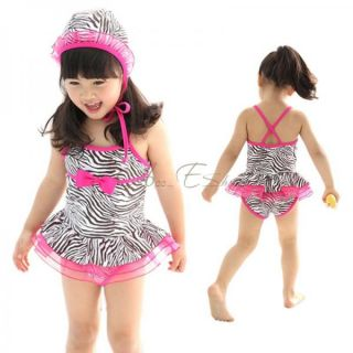 Girls Zebra Swimsuit Swimwear Pink Ruffle Tutu Swimming Costume Ages 3 7 Years