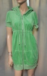 Juicy Couture Green Velour Dress Zip Front Hooded Dress Swim Cover Size M Medium