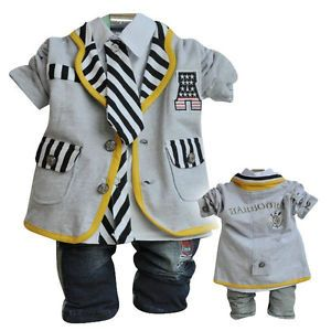 Captain Style Baby Boys Outfits 3pcs Set Baby Boys Clothes Toddler Suits Pants