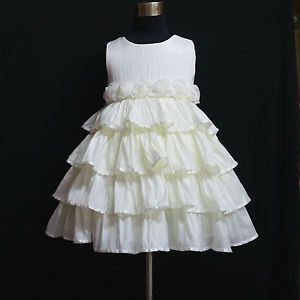 W20819 Off White Party Flower Girls Tulle Skirt One Piece Dress Size 2 3 4 5 6 7
