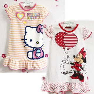 2 7 Year Infant Baby Toddledr Kids Girls Minnie Pajamas Night Grown Dress QZ1817