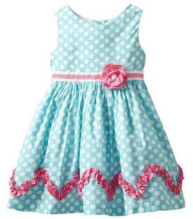 New Baby Girls RARE Editions 12M Teal Polka Dot Dress Summer Birthday 12 Months