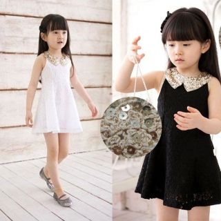 Fashion 2014 Kids Girls Baby Princess Dress Party Wedding Pageant Black White